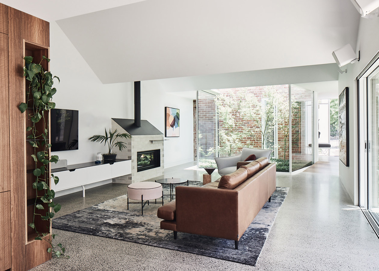 RaeRae, Austin Maynard Architects, Overend Constructions, lounge room, fireplace, polished concrete floor, architectural, design, joinery