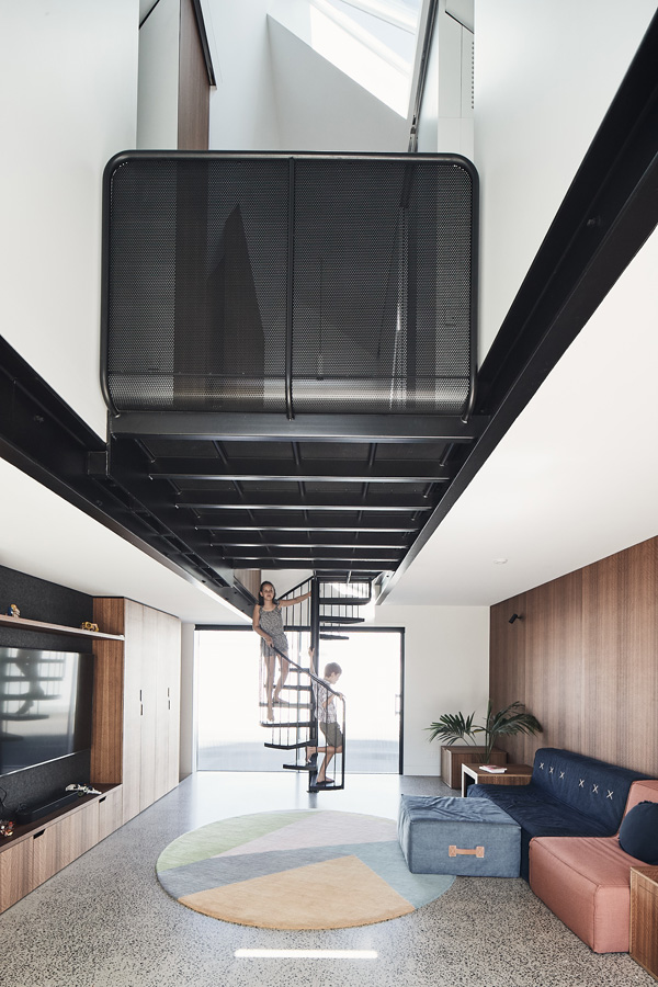 RaeRae, Austin Maynard Architects, Overend Constructions, black steel mesh walkway, spiral staircase to family room, architectural, design, joinery