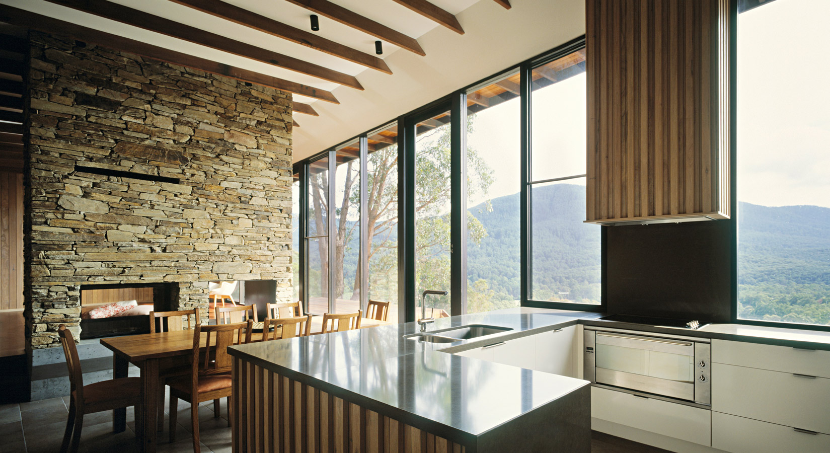 Great Wall House, kitchen, dining, stone fireplace, Overend Constructions, BKK, architectural, design, joinery